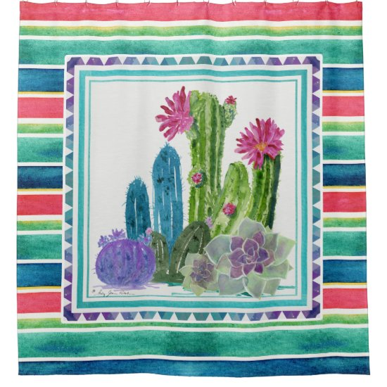 Mexican Blanket Watercolor Colorful Cactus Floral Shower Curtain