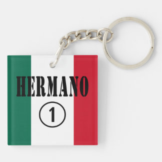 Mexican Brothers : Hermano Numero Uno Double-Sided Square Acrylic Keychain