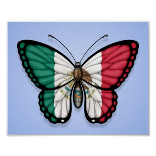 Mexican Butterfly Flag on Blue Posters