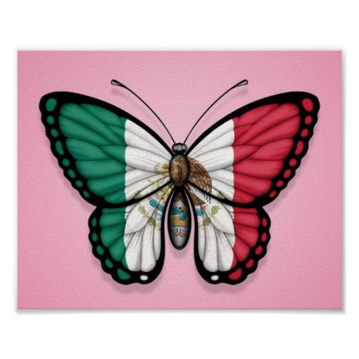Mexican Butterfly Flag on Pink Poster