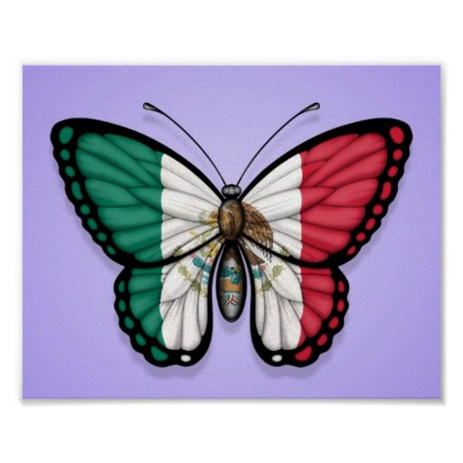 Mexican Butterfly Flag on Purple Posters