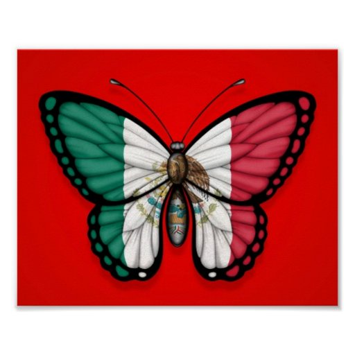 Mexican Butterfly Flag on Red Print