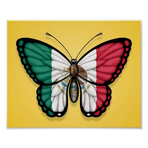 Mexican Butterfly Flag on Yellow Poster