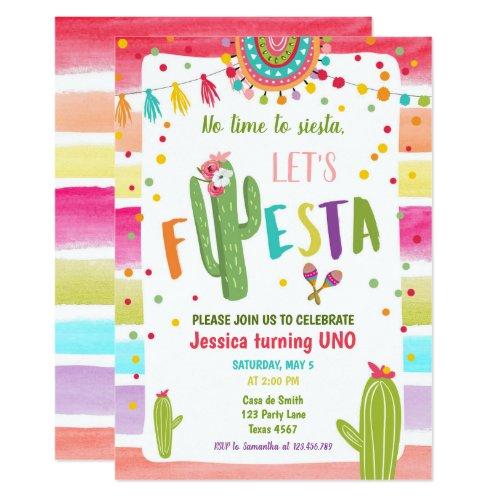 Mexican Cactus 1st First Fiesta Birthday Invitation
