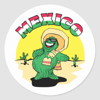 Mexican Cactus Round Stickers