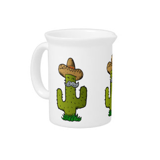 mexican cactus with mustache beverage pitcher