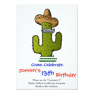 mexican cactus with mustache card