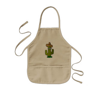 mexican cactus with mustache kids' apron
