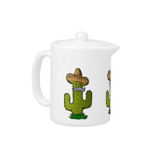 mexican cactus with mustache teapot