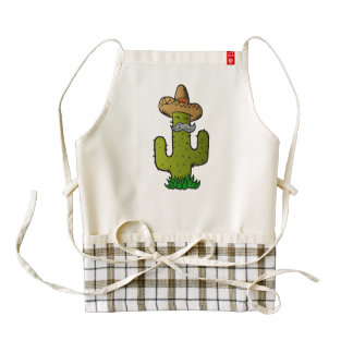 mexican cactus with mustache zazzle HEART apron