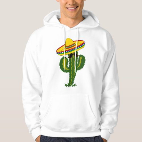 Mexican Cactus with Sombrero and Mustache Hoodie