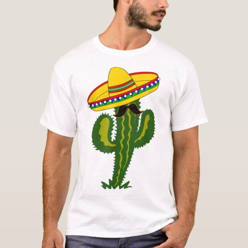 Mexican Cactus with Sombrero and Mustache T_Shirt