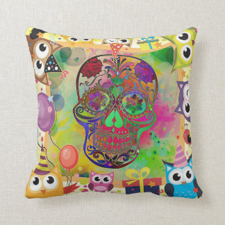 Mexican Calavera Skull on Colourful Cushion
