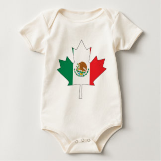Mexican Canadian Flag Baby Bodysuit