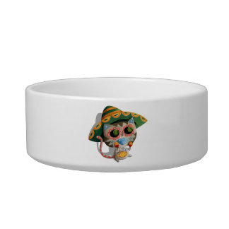 Mexican Cat with Sombrero Bowl
