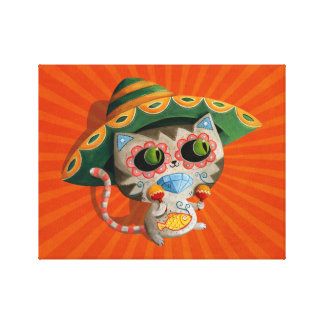 Mexican Cat with Sombrero Canvas Print