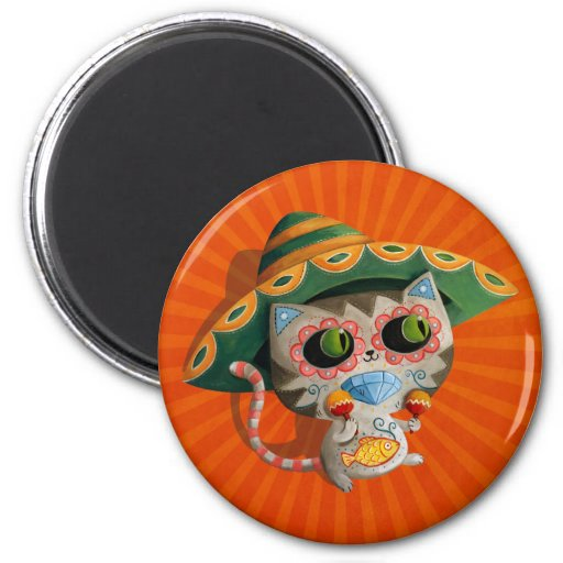 Mexican Cat with Sombrero Refrigerator Magnets