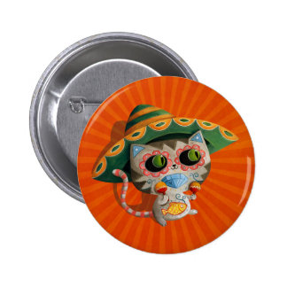 Mexican Cat with Sombrero Pinback Button