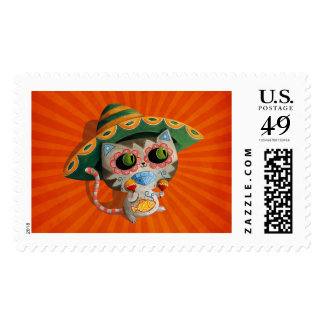 Mexican Cat with Sombrero Postage Stamp