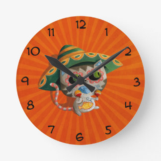 Mexican Cat with Sombrero Round Clock