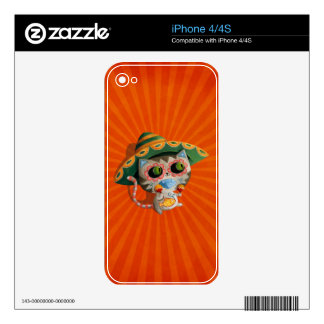 Mexican Cat with Sombrero Decals For iPhone 4S