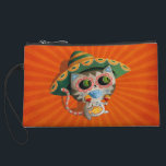 """Mexican Cat with Sombrero Wristlet Wallet<br><div class=""""desc"""">This not entirely The Day of The Dead art.This is more cute than scary. As you can see this very cute cat has sugar skull makeup, it&#39;s wearing Mexican sombrero hat and according to Mexican traditions is dancing cheerful dance. This is how to celebrate Mexican Day of The Dead. This...</div>"""
