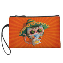 Mexican Cat with Sombrero Wristlet Wallet