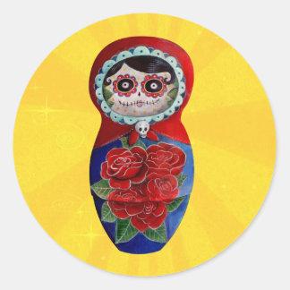 Mexican Catrina Matryoshka Classic Round Sticker