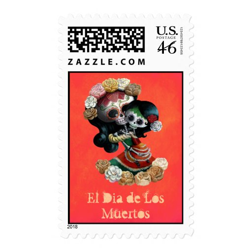 Mexican Catrinas Mother and Daughter Stamps