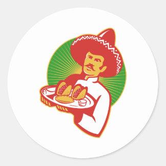 mexican chef serving taco burrito empanada retro stickers