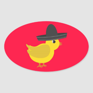 Mexican Chick Oval Sticker