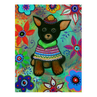 Mexican Chihuahua Pet Lover Black Postcard