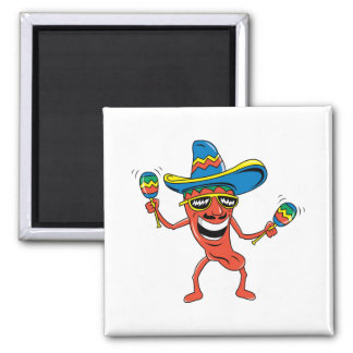 Mexican Chili Pepper 2 Inch Square Magnet
