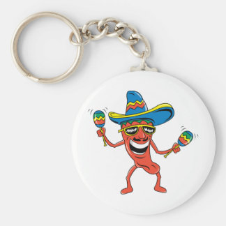 Mexican Chili Pepper Basic Round Button Keychain