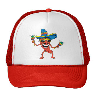 Mexican Chili Pepper Mesh Hats