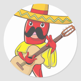 Mexican Chili Playing a Guitar Classic Round Sticker