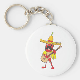 Mexican Chili Playing a Guitar Keychain