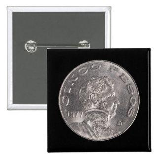 Mexican Cinco Pesos Button