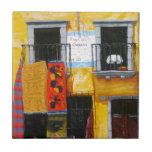 """MEXICAN COLORFUL MARKET by Slipperywindow Ceramic Tile<br><div class=""""desc"""">I painted from a sketch I did in San Miguel Allende MX.  It was one of many colorful rug merchant stores. Enjoy the colors that make you smile through your eyes. I painted this on canvas with acrylics. Thanks for viewing. Slipperywindow</div>"""