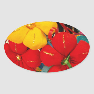 Mexican Crepe Flowers Oval Sticker