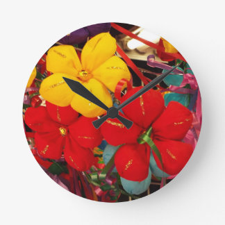 Mexican Crepe Flowers Round Clock