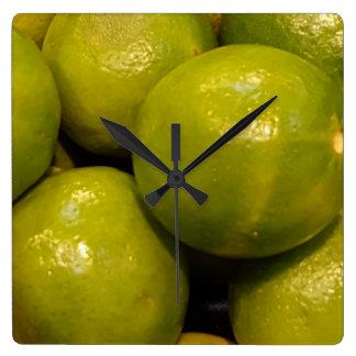 Mexican Cuisine Fresh Limes Design Square Wall Clock