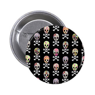 Mexican Day of Dead Skull Crossbones Button