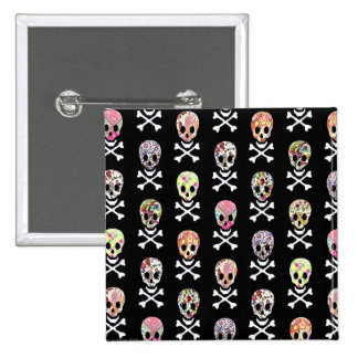 Mexican Day of Dead Skull Crossbones Pinback Buttons