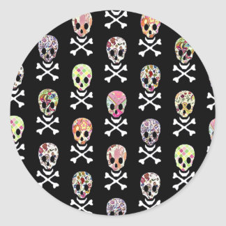 Mexican Day of Dead Skull Crossbones Classic Round Sticker