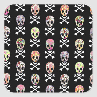 Mexican Day of Dead Skull Crossbones Square Sticker