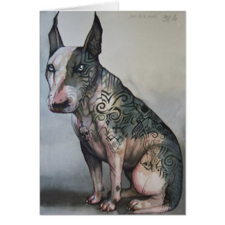 Mexican day of the dead bull terrier card