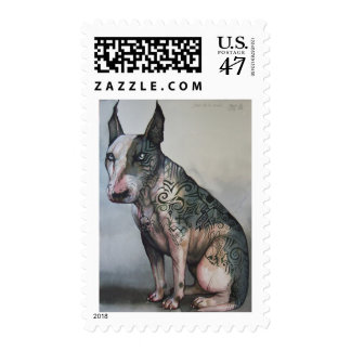 Mexican day of the dead bull terrier postage