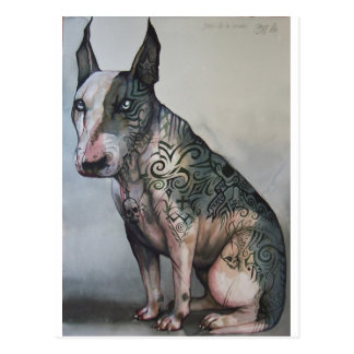 Mexican day of the dead bull terrier postcard