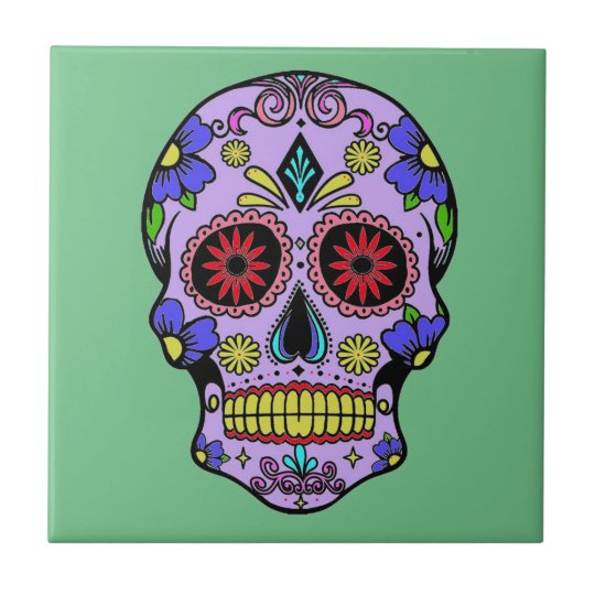 Mexican Day Of The Dead Skull Ceramic Green Ceramic Tile